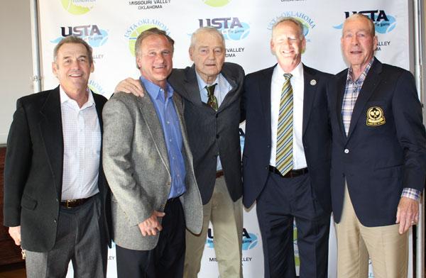 Members of the Tennis Hall of Fame: Pancho Walthall, Doug Boswell, Bernis Duke, Russell Warner, Frank B. Ward.